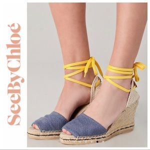 SEE By CHLOÉ Blue/Yellow Wedge Espadrilles Size 40